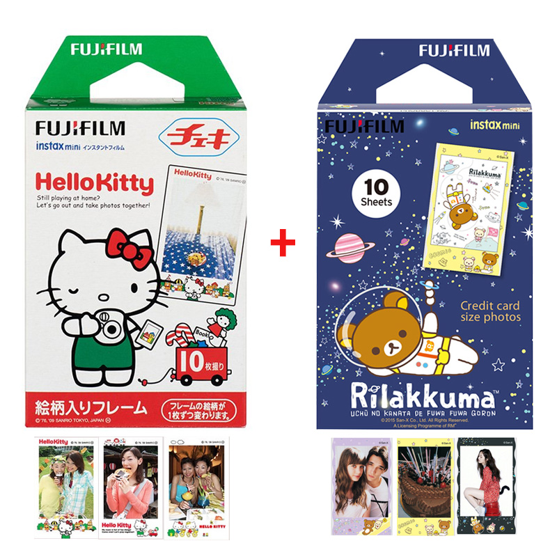 Genuine 2 Packs Hello Kitty & Rilakkuma Fuji Fujifilm Instax Mini 9 Film For 8 70 50s 7 7s 90 25 Share SP-1 SP-2 Instant Camera