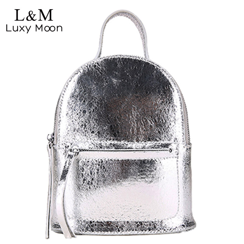 Women Crack PU Leather Backpacks Silver School Backpack Teenage Girls Female Mini Rucksack Solid Fashion Bags Mochila XA435H crocodile small backpack girls fashion pu leather backpacks summer school bags teenagers women back bags rucksack mochila mini