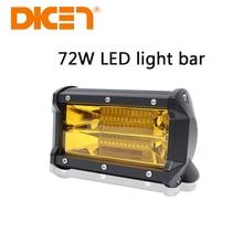 DIC 1PCS 72W 6500K 24 LED Yellow work Light Bar Spotlight 4WD Cube Offroad Fog Lamp Vehicle 72W Work Light Bar Jeep SUV Boat