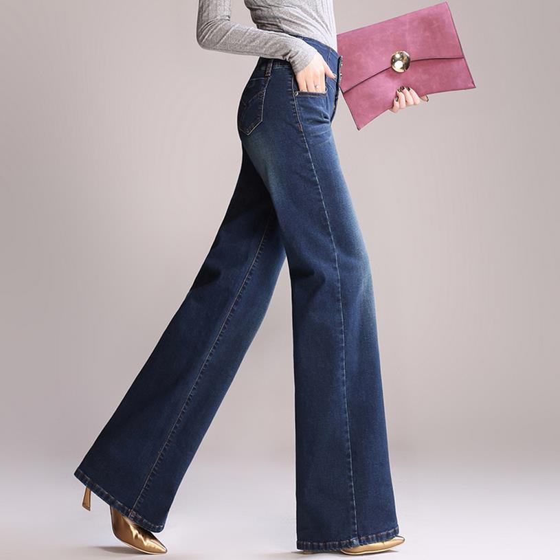 2019 Neuer Stil Hohe Taille Breite Bein Jeans Frauen Hosen Lose Jeans Plu Größe Voller Länge Hose