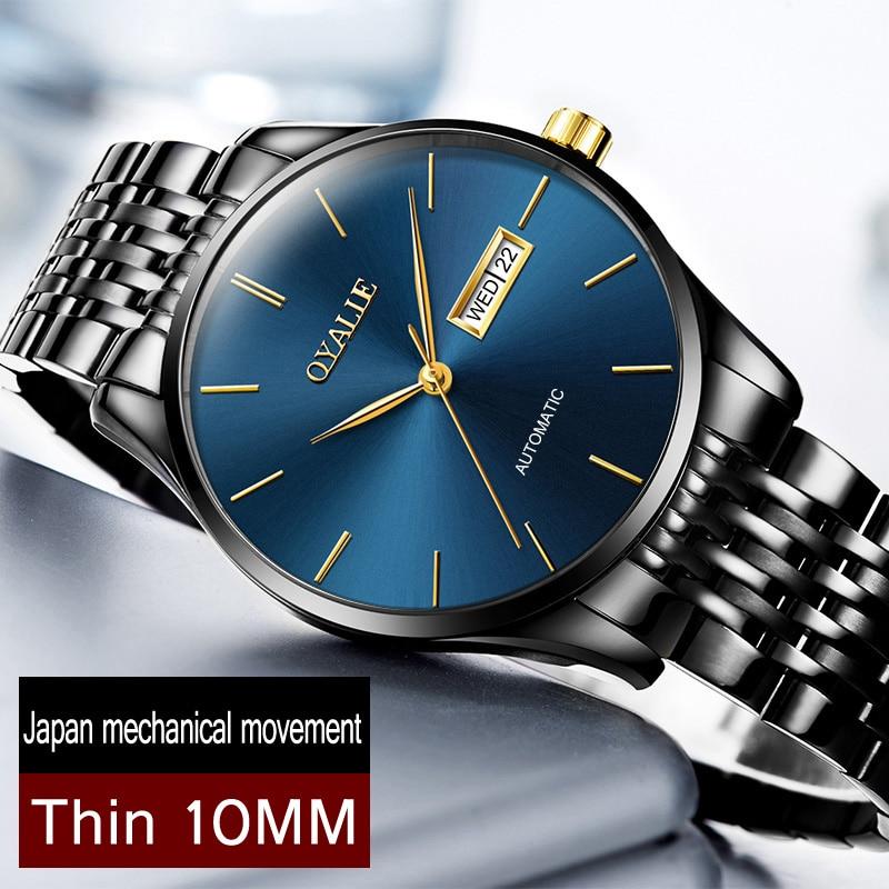 الرجال ساعات الأعلى العلامة التجارية الفاخرة اليابان عالية الجودة حركة التلقائي الفولاذ المقاوم للصدأ ساعات المعصم montres أوم relogio ساعة-في الساعات الميكانيكية من ساعات اليد على  مجموعة 1