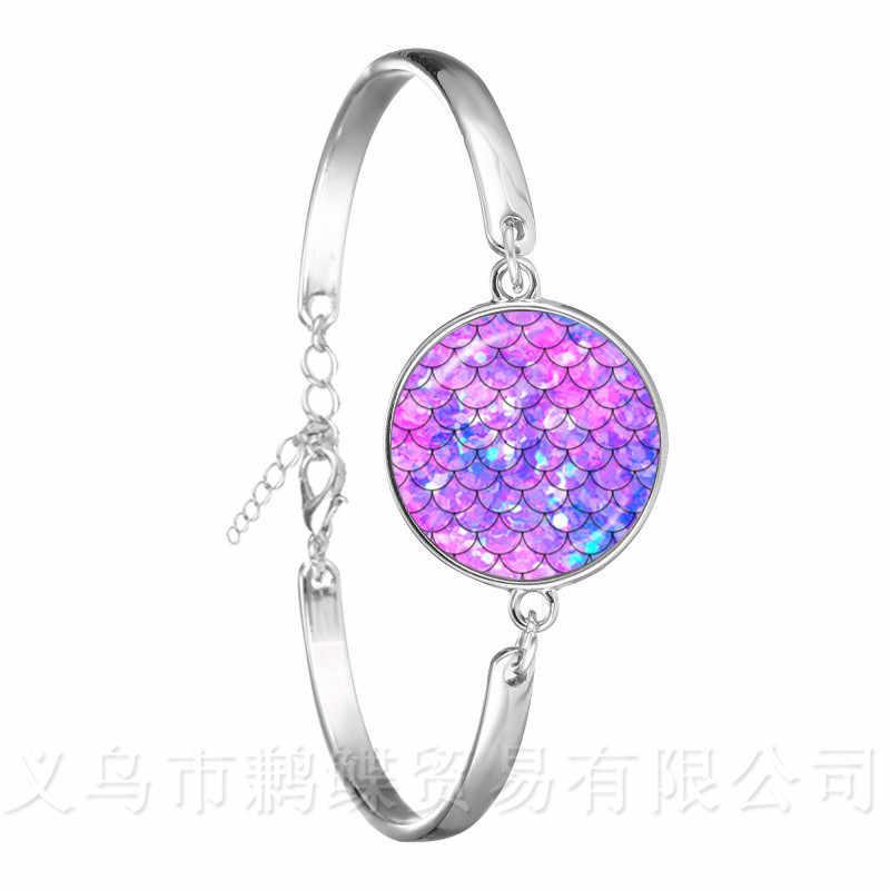 Classique 18mm verre Cabochon Maxi argent plaqué chaîne Bracelet cadeau pour femmes filles enfants arc-en-ciel écailles sirène