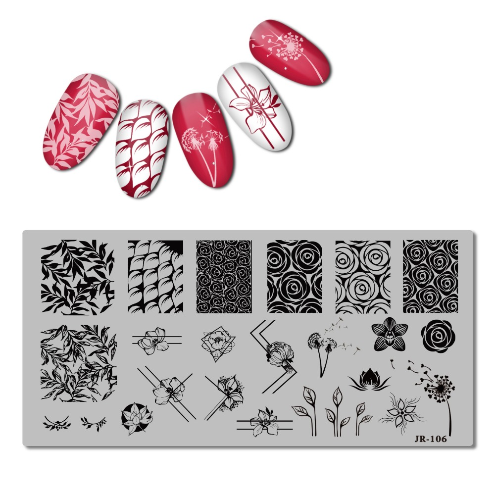 2018 Stainless Steel Stamping Plate Template Xmas Christmas Snow Tea Cup Mandala Red Wine Flower Love Easter Nail Tool JR101 110-in Nail Art Templates from Beauty & Health