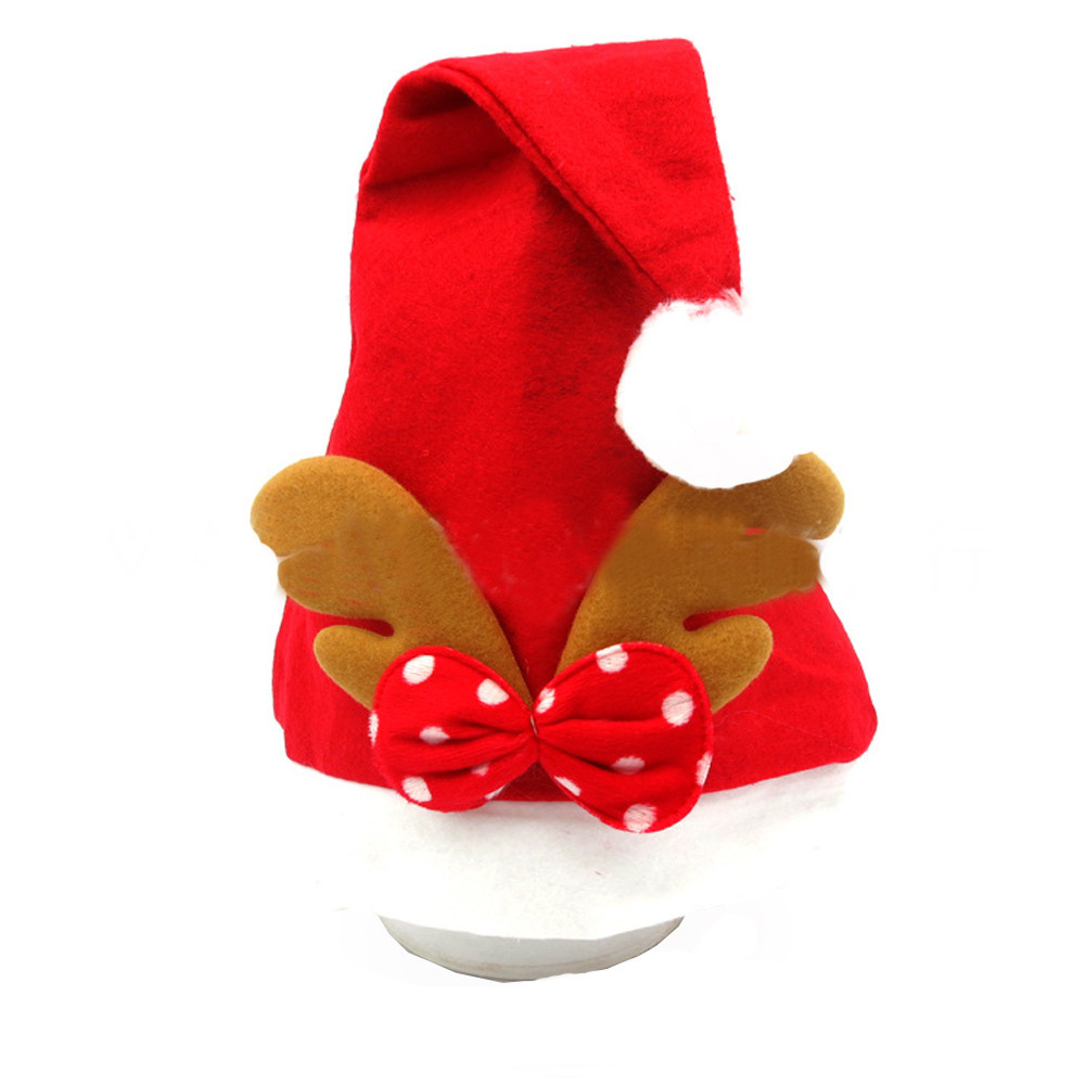 1PC Childrens Fashion Red Christmas Santa Claus Cap Cute Wapiti Print Kids Xmas Cozy Soft Warm Caps Gifts Holiday Party Costumes