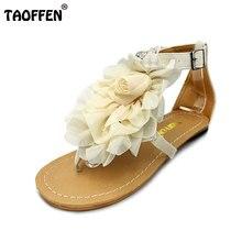 TAOFFEN tamaño 34-43 de Las Mujeres de Bohemia Rebordeó Las Sandalias de Flores de Verano Talones Planos Chanclas Sandalias de Los Zapatos de Las Mujeres Tstraps PA00903