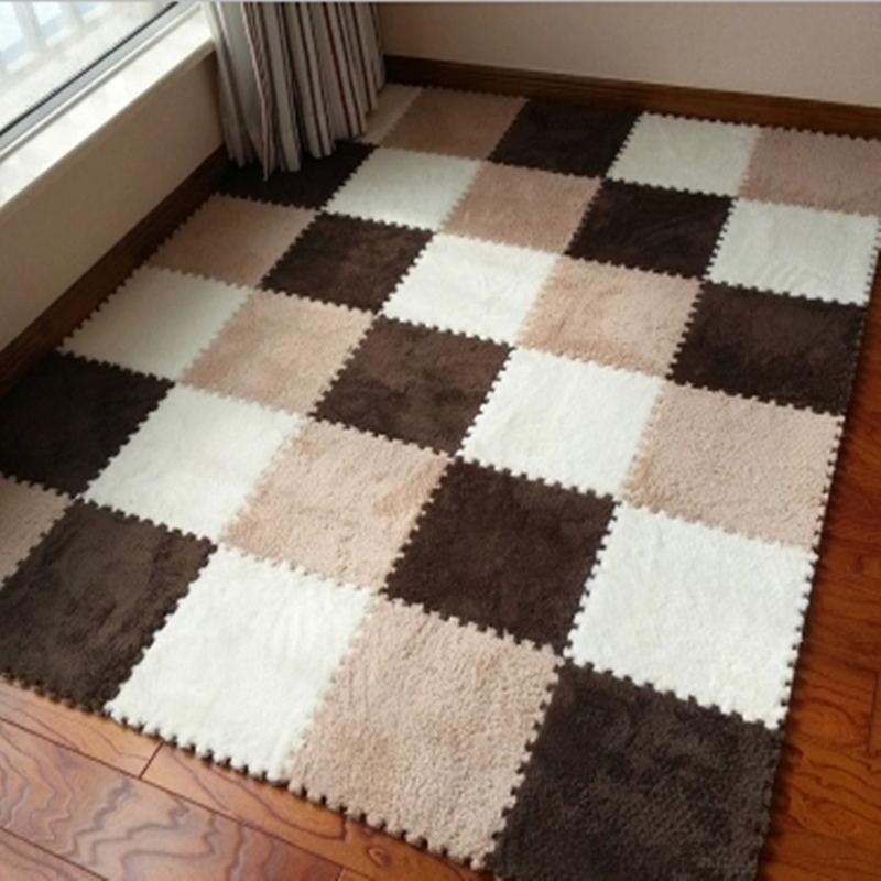 12 Pcs/Lot tapis de couture bricolage pour chambre à coucher tapis anti-dérapant poilu chaud tapis de sol de chambre d'enfants tapis de zone carrée solide pour salon
