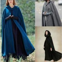 Fashion Women Long Hooded Cape Cloak Vintage Wool Blend Coat Sleeveless Winter Poncho Cardigan Travel Clothes