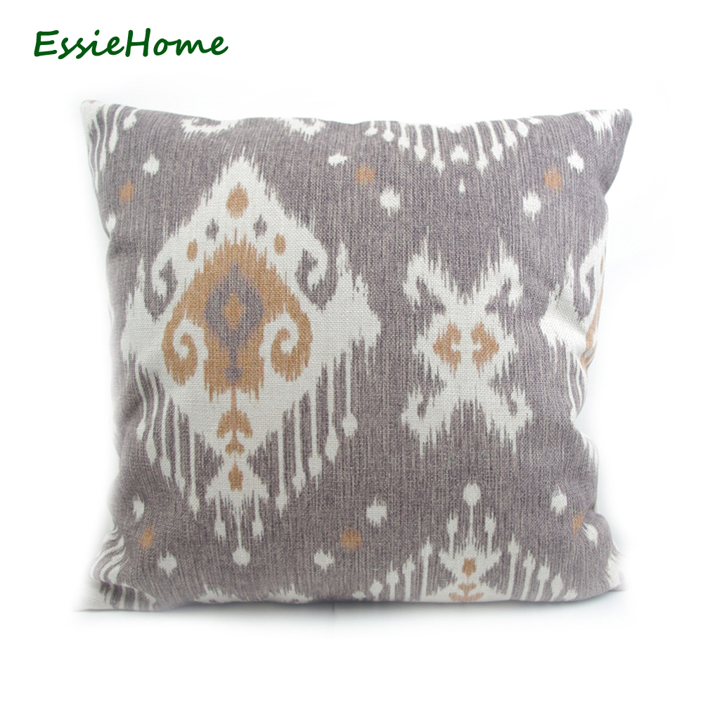 ESSIE HOME High-End Hand Print Light Brown Ikat Pattern Pillow Case Cushion Cover For Sofa Vintage Look Home Decoration Throw