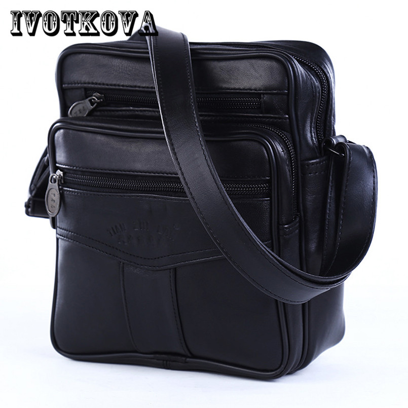 IVOTKOVA 2017 Men Bags Ipad Handbags Sheepskin Leather Male Messenger Purse Man Crossbody Shoulder Bag Mens Travel Bags