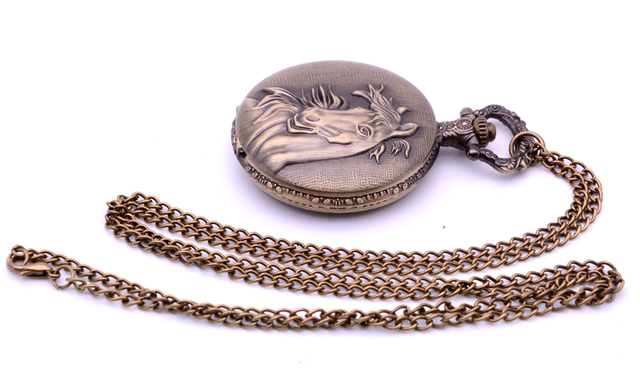 Dropshipping Antique Horse Unicorn Mens Quartz Pocket Watch Analog Pendant Necklace Chain Womens Gift relogio de bolso Bronze
