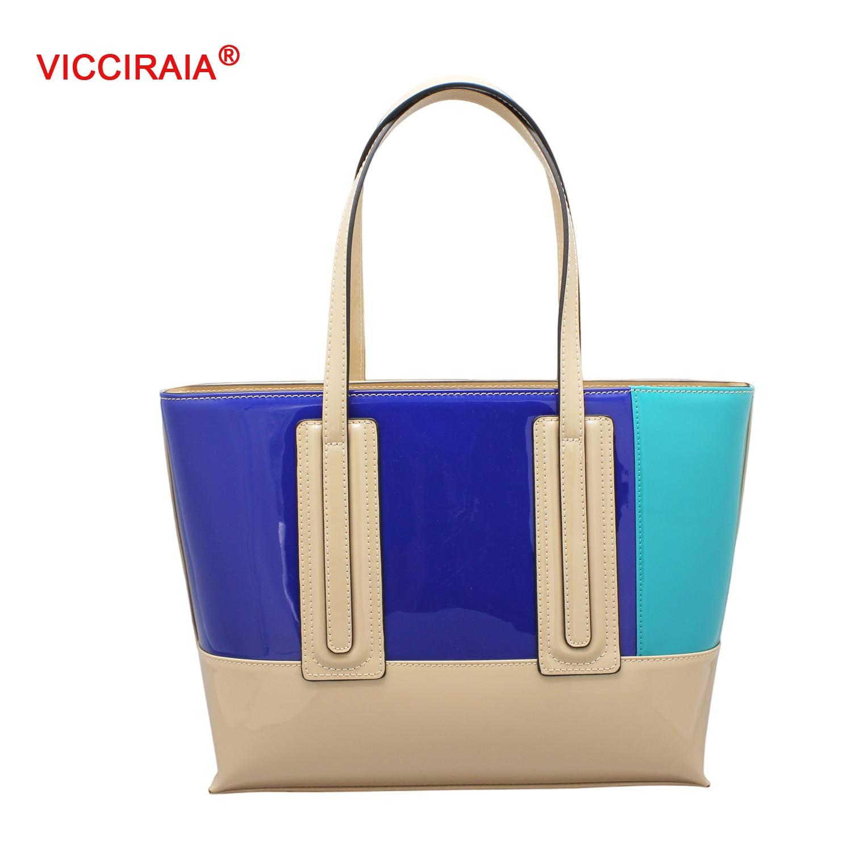 ФОТО VICCIRAIA Fashion Colors Panelled Imitation Leather Shoulder Bag Lady PU Leather Women Handbag