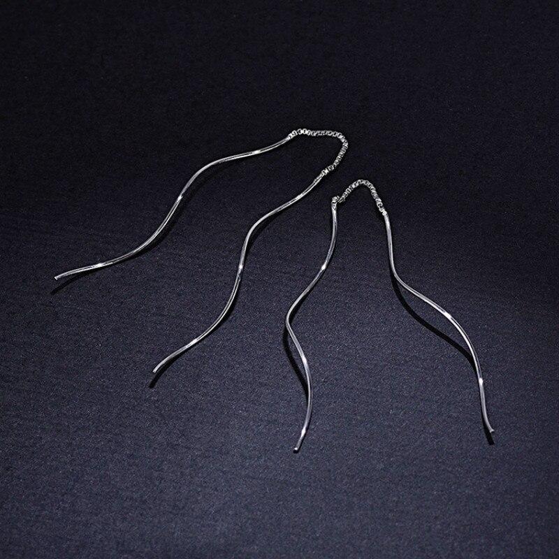 925 Sterling Silver Jewelry Fashion Simple Long Tassel Earrings For Women Boucle d 39 oreille Pendientes in Earrings from Jewelry amp Accessories