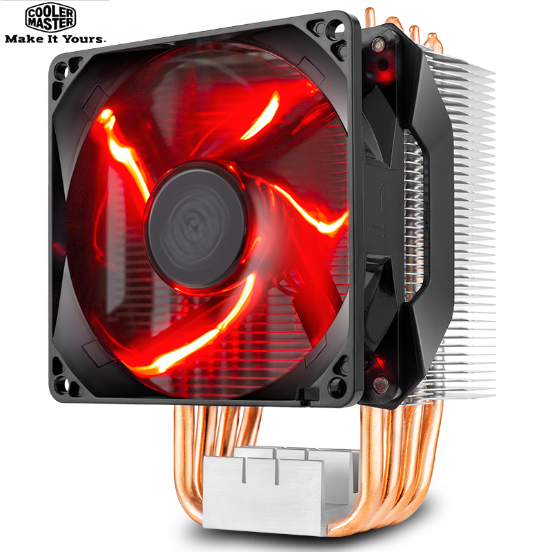 Cooler Master T410R 4 heatpipe CPU Cooler for LGA 1155 1156 AMD AM4 AM3 Quiet 92mm LED 4pin PWM fan PC CPU cooling radiator fan for intel amd platform 1155 1150 am3 desktops computer cpu 4 copper heat pipes cooler heat sink fin fan quiet radiator 4pin