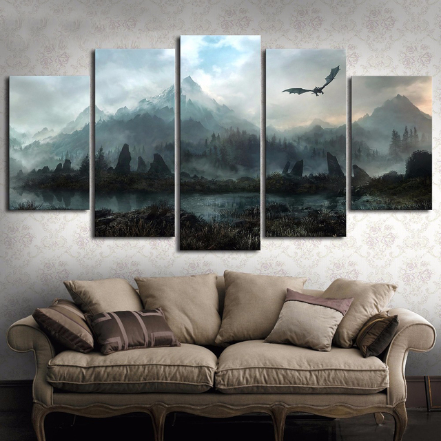 5 Piece HD Wall Art Picture Game of Thrones Dragon Skyrim Oil Painting Mural on Canvas for Living Room Decor