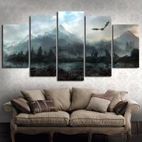 5 peça hd arte da parede imagem do jogo de tronos dragão skyrim pintura a óleo mural sobre tela para sala estar decoração Pintura e Caligrafia     -