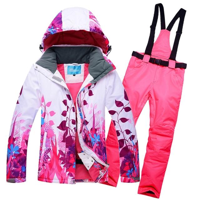 Women Ski Suit Ski Jacket Windproof Waterproof Flower Skiing Snowboard  Thicken Thermal Female Jacket+Pants 99c29ed86