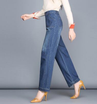 Haute Pour La Printemps Yfq0711 Bleu Mode Casual Pantalon Jeans New Denim Femmes Taille Coton Automne Les Droite Blend Plus Femelle TJclFK31