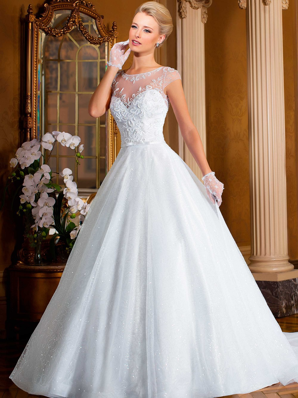 Online buy wholesale sparkle wedding dresses from china for Sparkly wedding dresses with sleeves