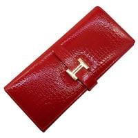 Guarantee Genuine Leather Wallet Women bag Red Luxury crocodile pattern cowhide wallet women business card holder coin purse