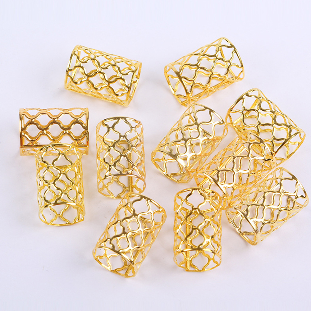 10pcs Adjustable Clip Buckle Dreadlock Cuff Fashion Wig Decorative Mini Braid Hair Extension Ring  Out Beads Accessories