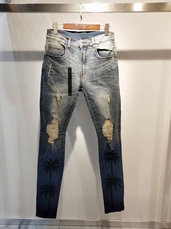 Men Dk Indigo Night Palm Distressed Stretchy Skinny Jeans
