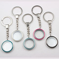 Zinc Alloy Magnetic Floating Locket Keychain 30mm With Mix Colors Enamel Floating Glass Locket Key Chain 10PCS