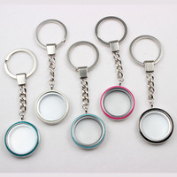 Zinc Alloy Magnetic Floating Locket Keychain 30mm With Mix Colors Enamel Floating Glass Locket Key Chain