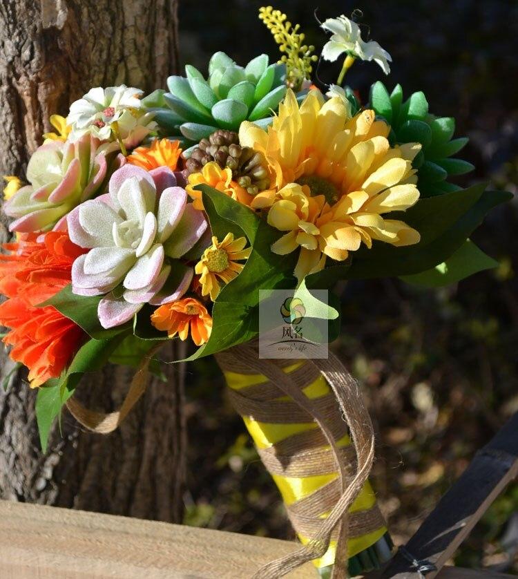 Fatti a mano Mazzi di Fiori Reale di Tocco Fiori Artificiali piante Succulente Forniture di Nozze della Damigella D'onore Nuziale Bouquet Decorazione Della Casa - 4