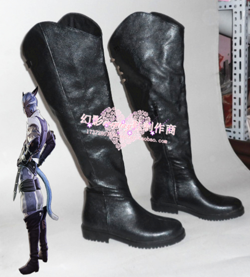 Final Fantasy Miqo te Black Halloween Cosplay Long Shoes Boots H016