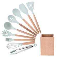 Yfashion 9pcs Kitchenware Set Japanese Style Wooden Receiver  Pot Shovel Soup Spoon 9