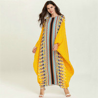 Vintage Summer Robe Bat Sleeve Plus Size Women Clothes 2019 Kaftan Gowns Casual Fashion Yellow Ethnic Striped Floral Abaya Dress
