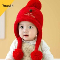 YmsaidNew Years Child Winter Wool Blended Knit Stripe Cap Children Clothes Accessories Kid Casual Bomber Baby