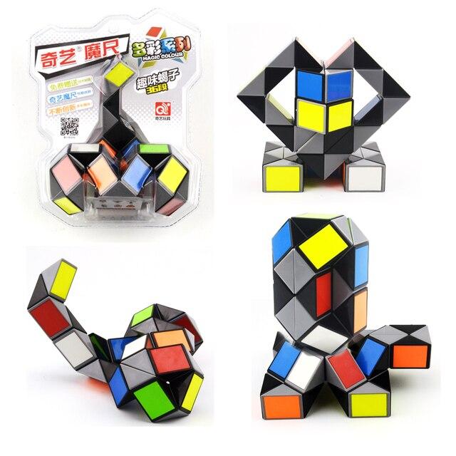 Colourful Magic Snake Cubes Puzzle Ruler Twist 40 Blocks Cube Puzzle Magnificent Rubik's Snake Patterns