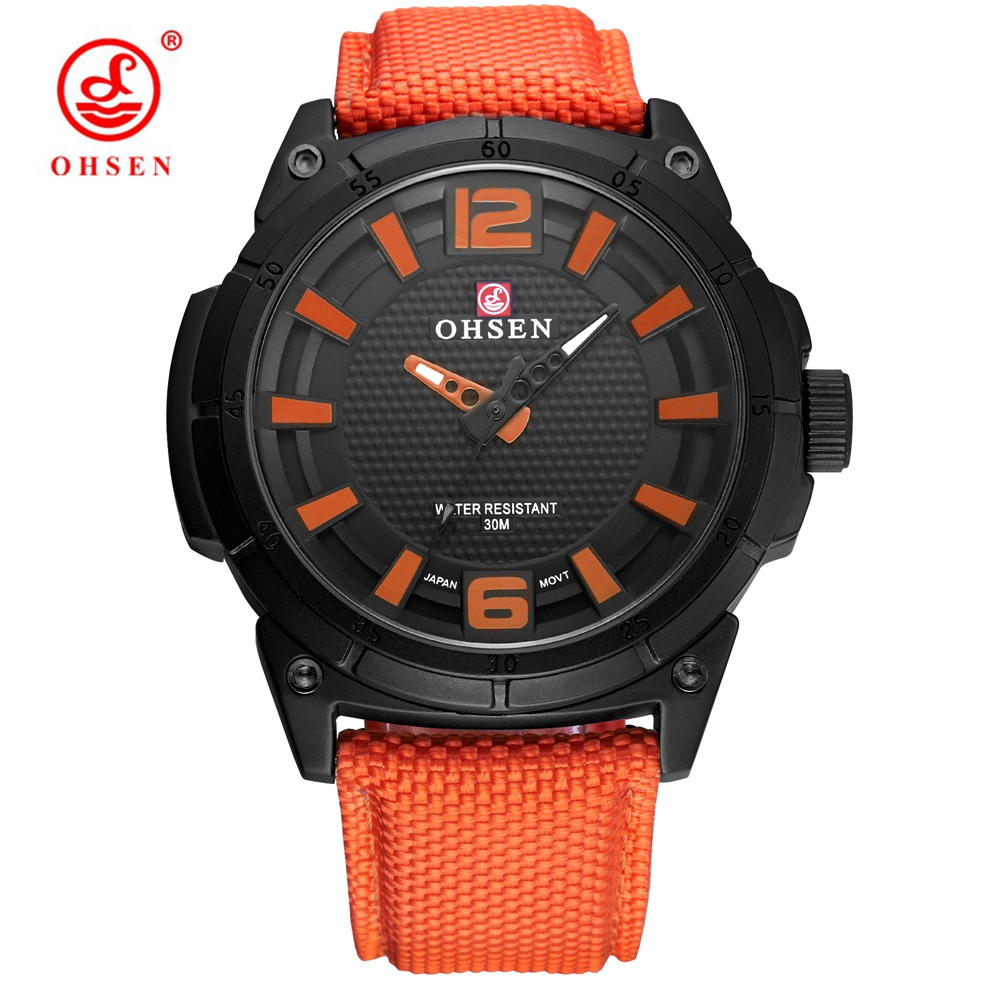 New OHSEN Fashion Casual Men Quartz Wristwatches Canvas Strap Orange Outdoor Sport Military Waterproof man Watch montre homme