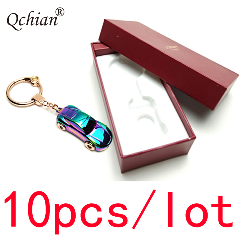 10pcs/lot Led Metal Sports Car Model Decorative Pendant Keychain Car Motorcycle Key Jewelry Backpack Pendant