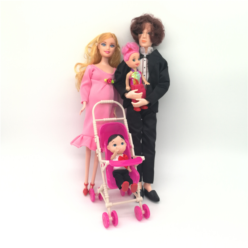 5 People Family Doll Suits Mom Dad Son Daught Baby Carriage Girls Toys Fashion Pregnant Doll Kid Toys in Dolls from Toys Hobbies