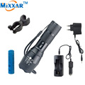 zk10 t6 high power 4000 lumens adjustable led flashlight + DC/Car Charger + 1 * 18650 5000mAh battery + Holder