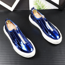купить Fashion Men Casual Shoes Patent Leather Flat Loafers For Male Low Top Footwear Slip-on Flats Men Shoes Breathable 6#20D50 дешево