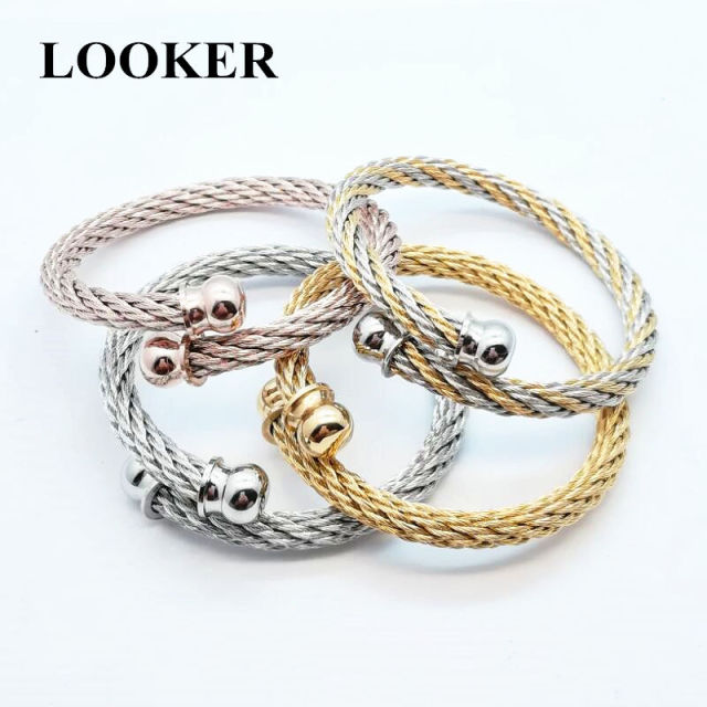 open wire adjustable bangles steel women twisted round silverstainless ball bracelets item fashion cable