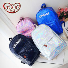 European and American style vertical section square high-grade PU leather backpack Cool punk laser couple backpack(China)
