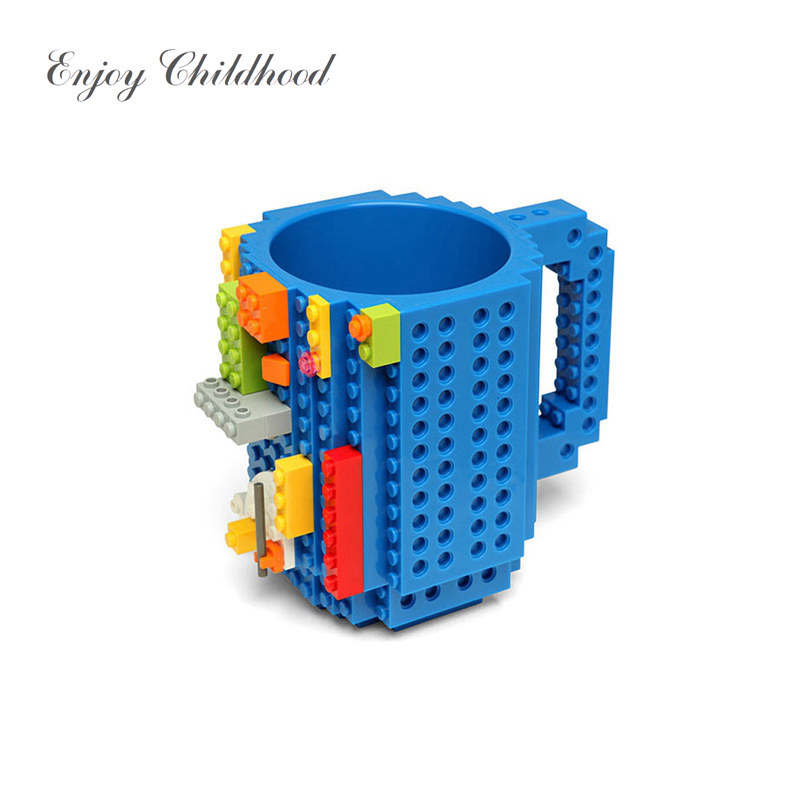 2018 Creative DIY Build on Brick Mug Puzzle Building Cup Water Bottle Coffee Cup Christmas Gift Children Toy