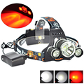 Boruit 5000 lumens 3 LED Headlamp XM-L XML T6 +XPE RED LED Headlight Head lamp Light lampe frontale Flashlight + AC Charger
