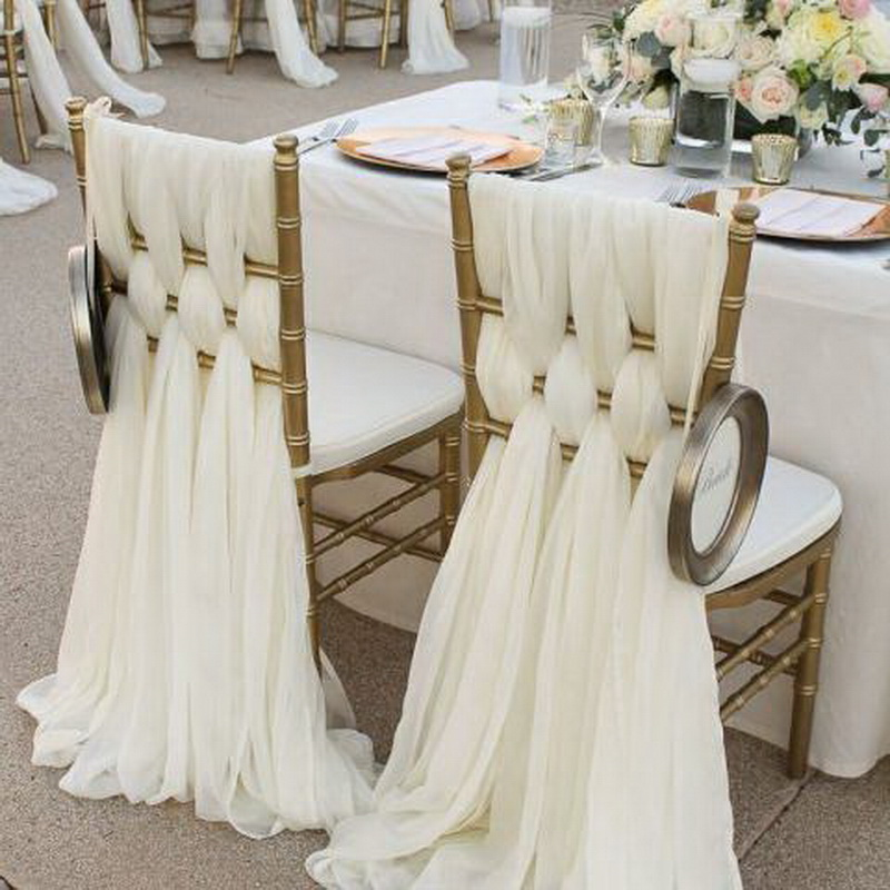 ChaiSang Ivory Chiffon Chair Sashes For Weddings Events Party Decoration