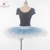 Practice And Rehearsal Professional Tutu Stiff Tulle Half Tutu Women Ballet Tutu Blue Fades To White
