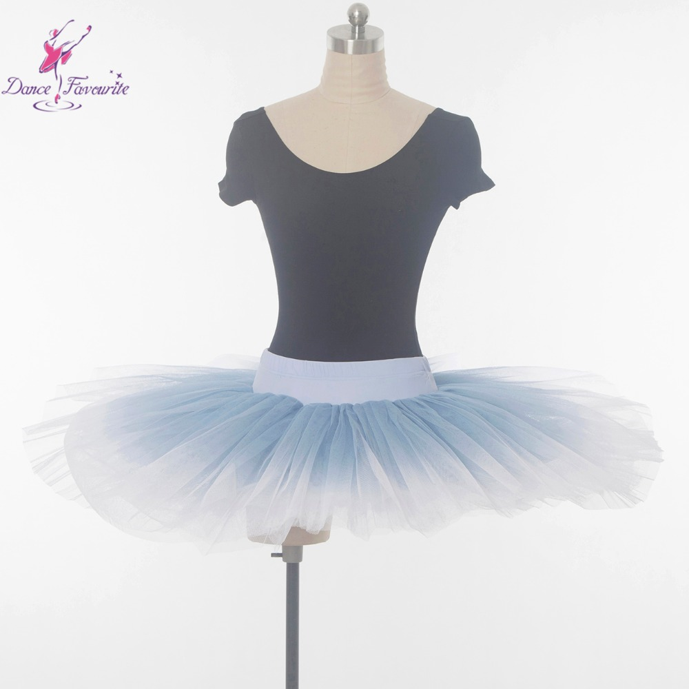 Practice and Rehearsal Professional Tutu, blue fades to white women and girl half tutu