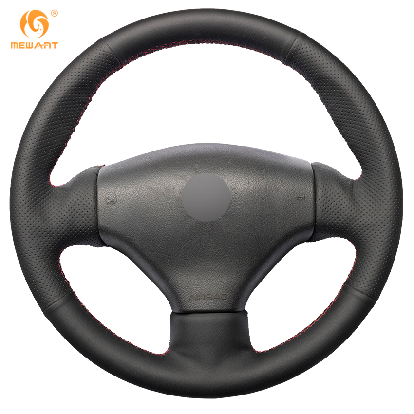 MEWANT Black Artificial Leather Car Steering Wheel Cover for Peugeot 206 1998-2005 206 SW 2003-2005 206 CC 2004 2005 diameter 38cm carbon fiber car steering wheel cover for peugeot 206 2003 206 cc 2005 car styling