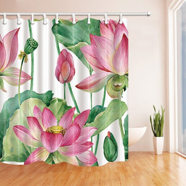Watercolor Botanical Lotus Flowers Bath Curtain Polyester Fabric Waterproof Shower For Bathroom