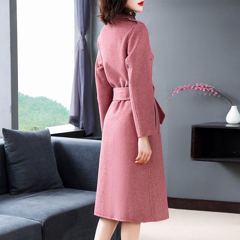 Outwear Double Hiver Automne Femmes Épaisse Qualité Longue 2018 Manteaux Femme Boutonnage Khaki Laine Et Haute Mélanges Casual En À pink SqvxfT880