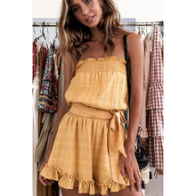 Spring and summer new style Ruffled sexy bandeau-style halter wild jumpsuit Temperament high waist