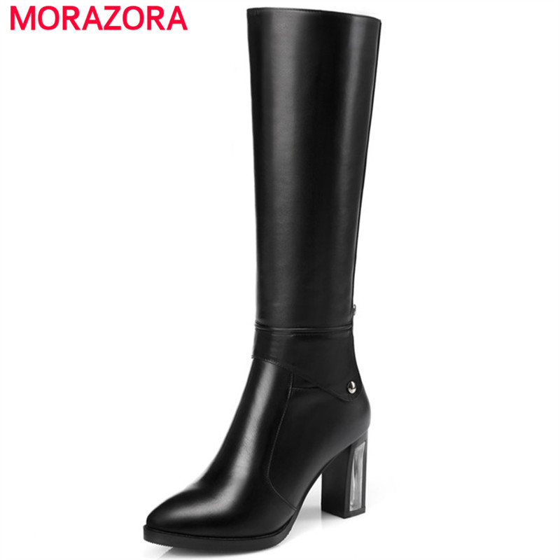 MORAZORA Cow leather + PU high heels shoes fashion punk knee high boots for women zip rivets pointed toe long boots size 34-45 цены онлайн